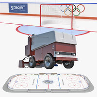 Ice Hockey Rink and Ice Resurfacing Machine 3D Models Collection