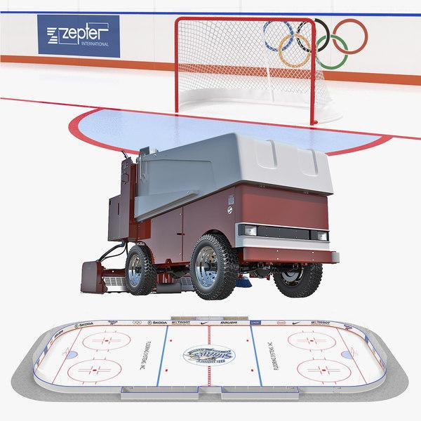 ice hockey rink resurfacing 3D model