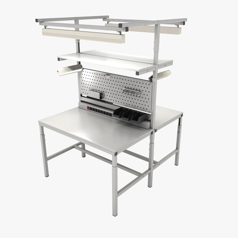 3D model dual adjustable working table
