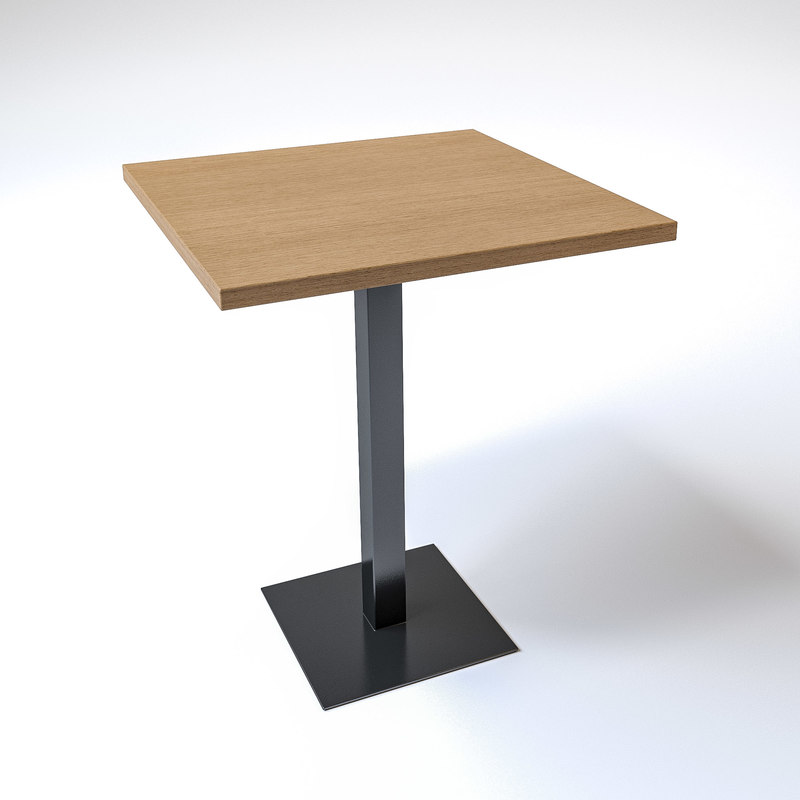square wooden table metal 3D model