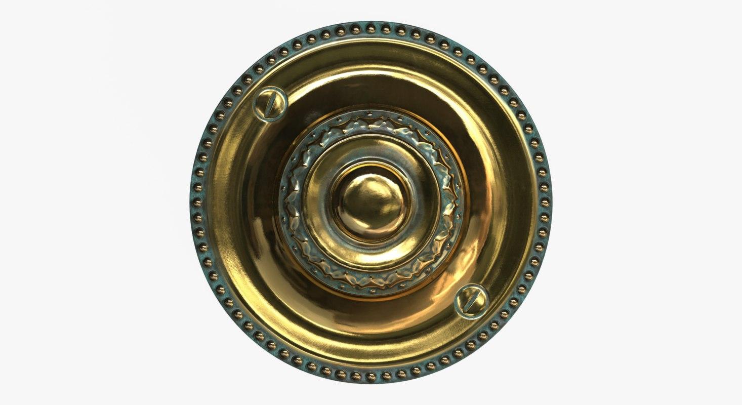 3D brass doorbell model