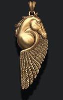 3D horse pegasus pendant model