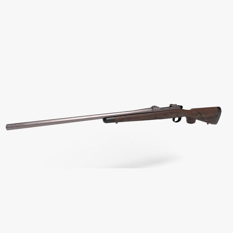 3D remington rifle world war model