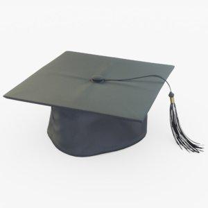 graduation cap black 3D model