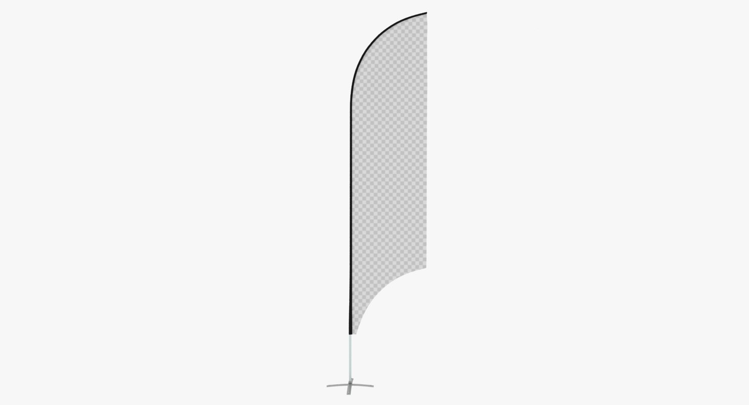 3D model promo flag feather