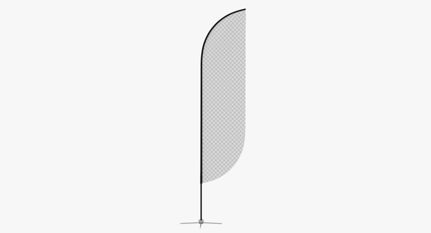 promo flag feather 3D model