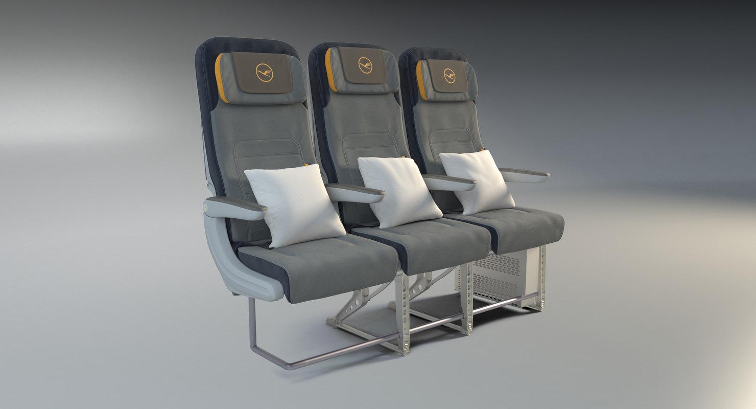 lufthansa economy seats 3D model