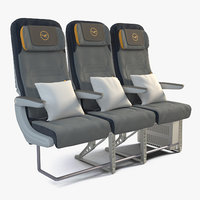 lufthansa economy seats 3D model