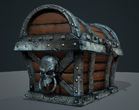 3D ready skull pirate treasure model
