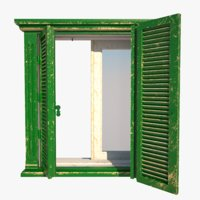 3D old window wall