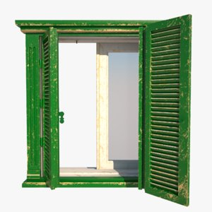 3D old window wall