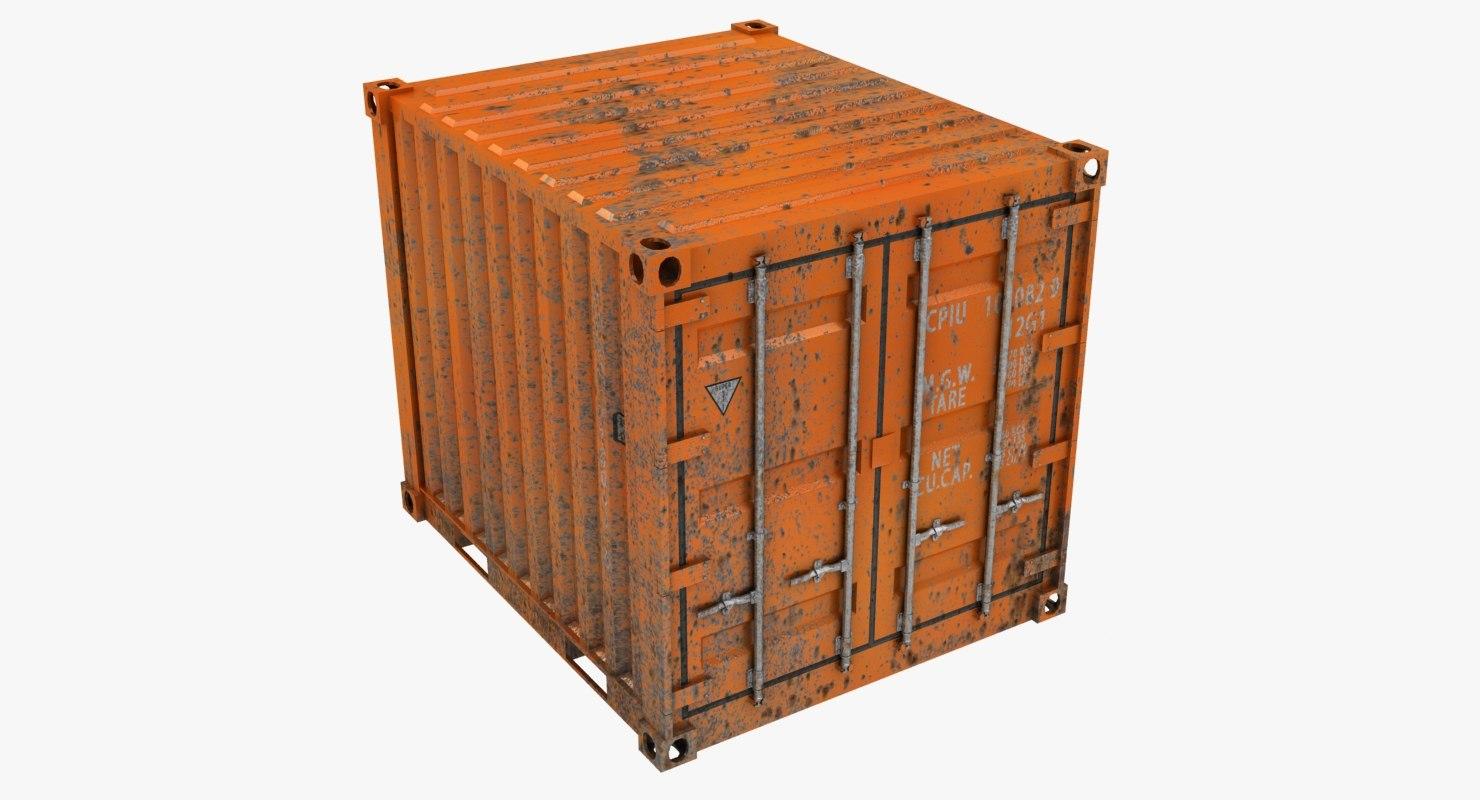 rusty container 10ft orange 3D model