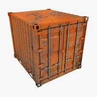 rusty container 10ft orange 3D model