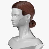 hair chignon style head girl 3D model
