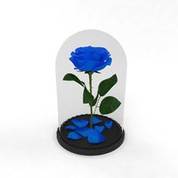 3D rose flower flask blue model