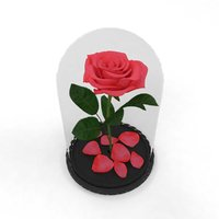 3D rose flower flask pink model
