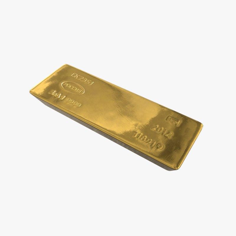 3D standart gold bar russian model