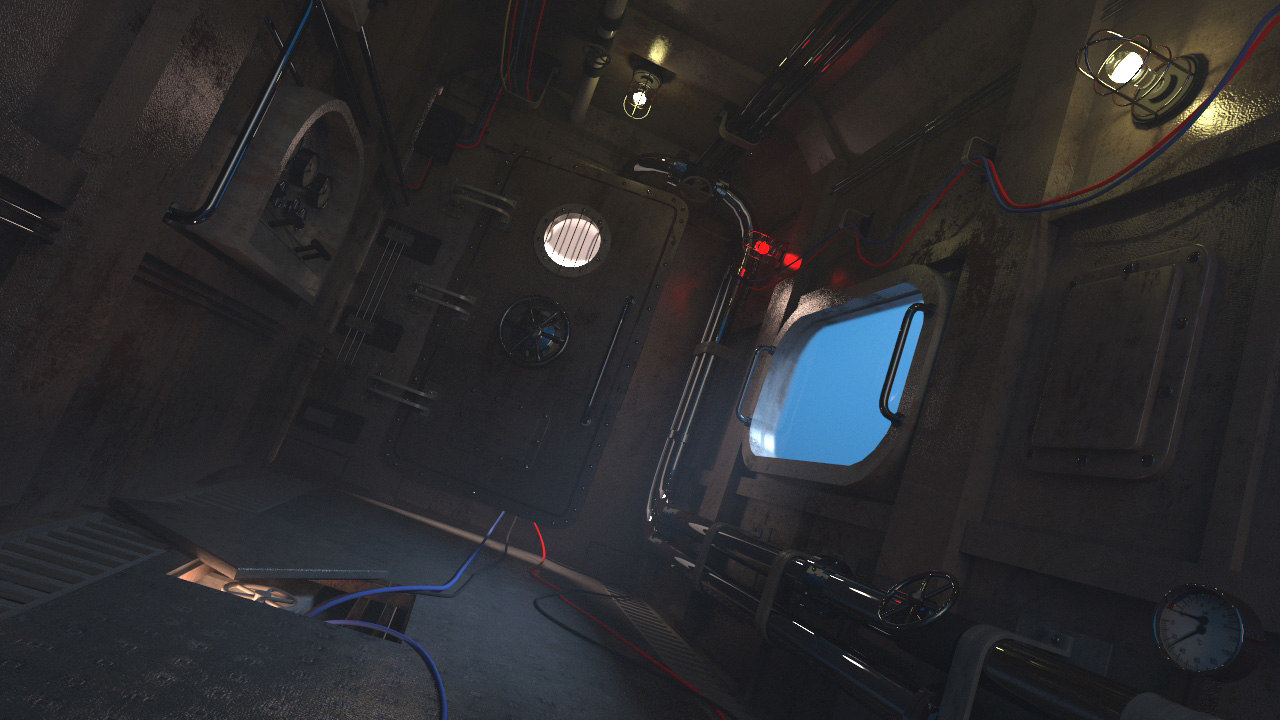 3D corridor ship submarine model