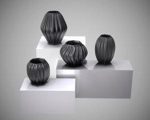 3D black modern decor vase model