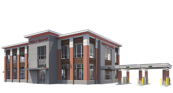 bank commercial drive-thru 3D model
