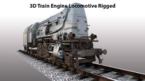 train engine locomotive rigged 3D