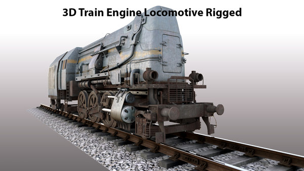 train engine locomotive rigged 3D