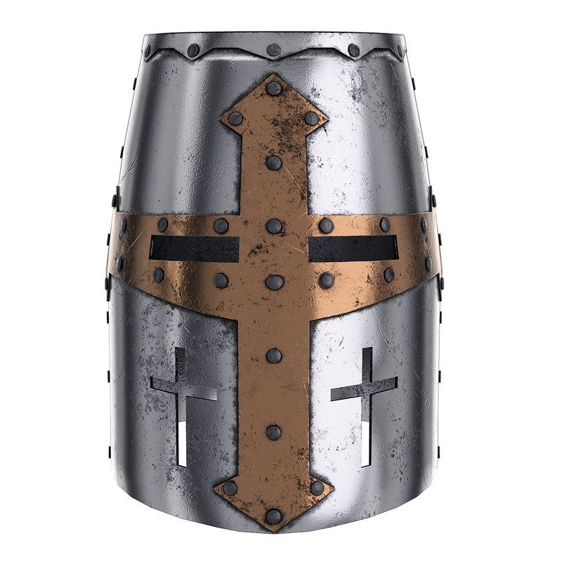 3D medieval knight tamplier crusader helmet