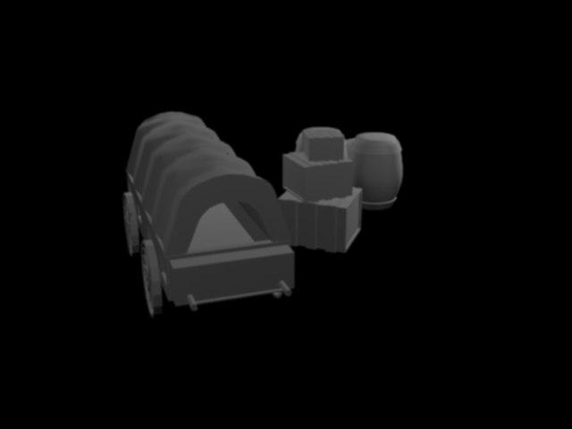 caravan wagon barrels 3D model