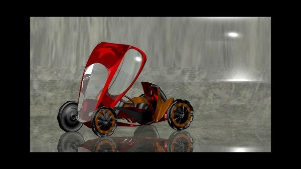 3D man futuristic vehicle model