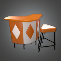 Retro Bar Stool Set (Midcentury Mod) - PBR Game Ready 3D