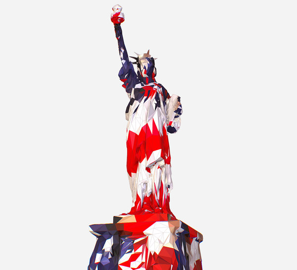 art usa color liberty statue 3D model