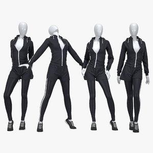 3D female fitness sport suit