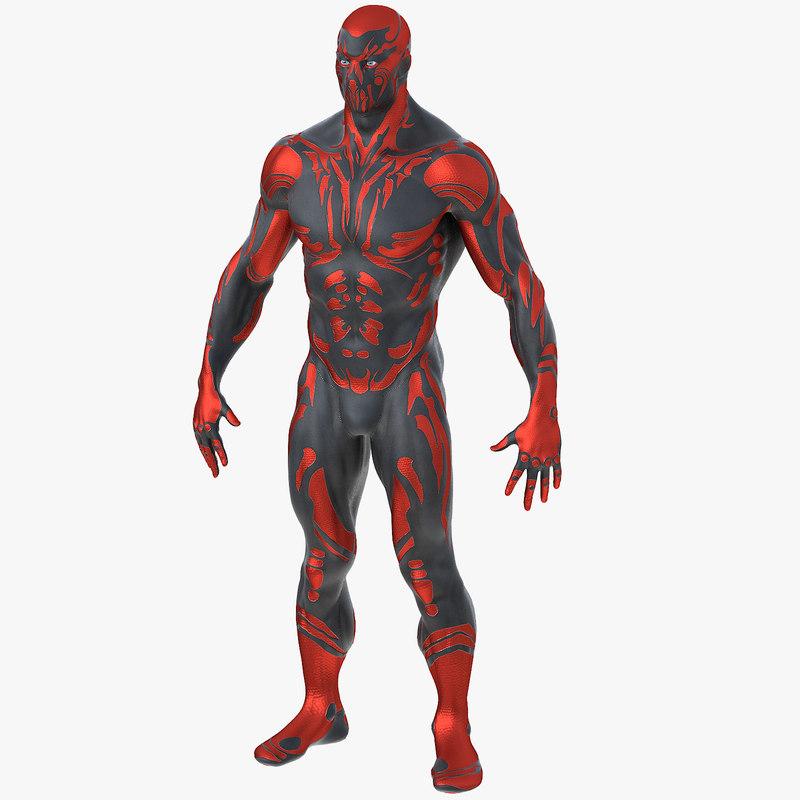 3D model superhero man
