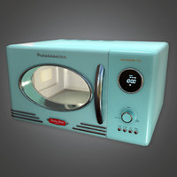 Retro Microwave (Midcentury Mod) - PBR Game Ready 3D