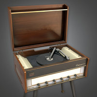 Retro Record Player (Midcentury Mod) - PBR Game Ready 3D