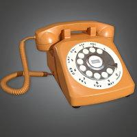 Retro Phone 01 (Midcentury Mod) - PBR Game Ready 3D