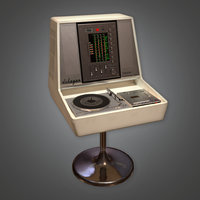 Retro HIFI Audio Player and Speakers (Midcentury Mod) - PBR Game Ready 3D