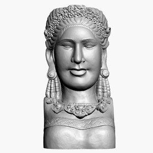 sculpture bali woman head 3D model