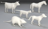 Animals-5 pieces-low poly-part 2