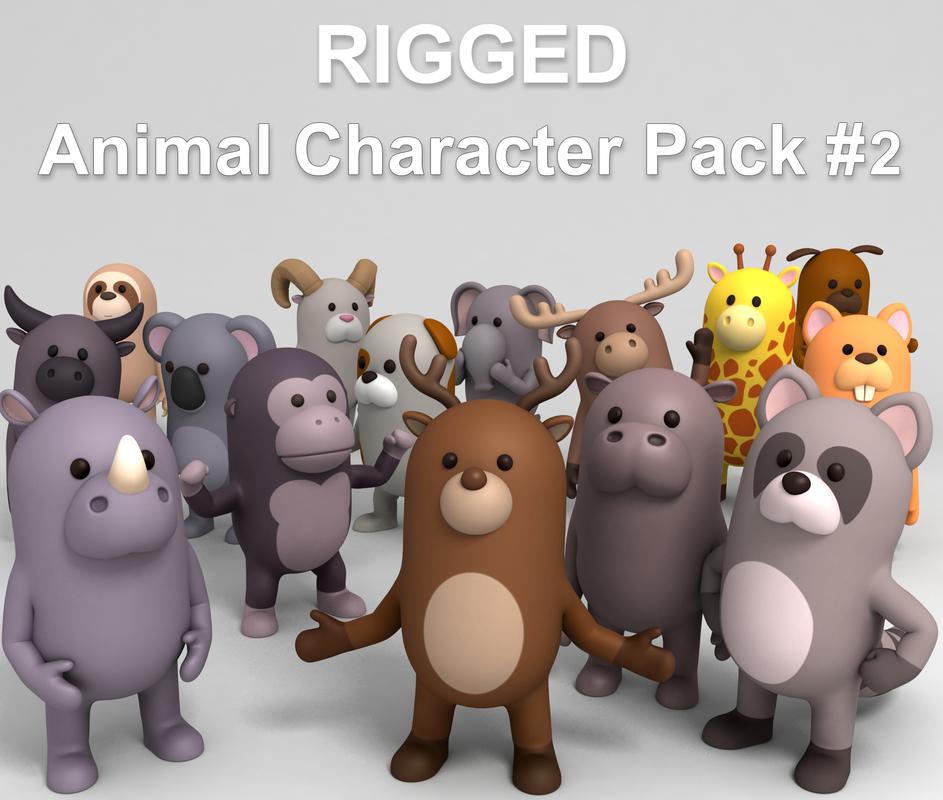 3D cartoon animal pack rigged character