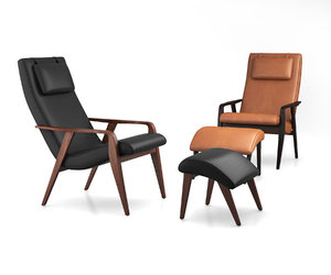 contour mid-century leather chair model