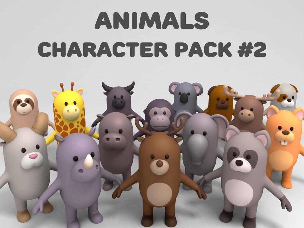 3D cartoon animals pack 2