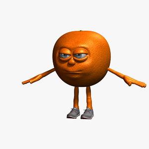 3D orange cartoon character fruit model