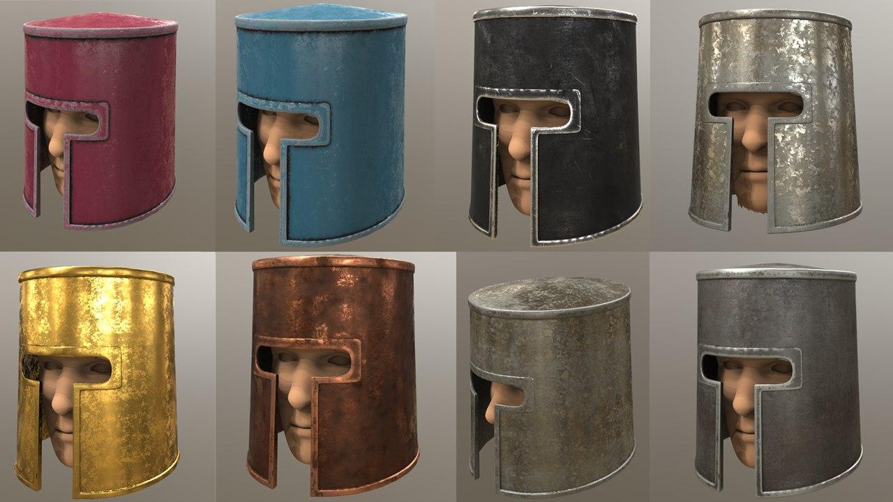 3D medieval helmet puck low-poly model