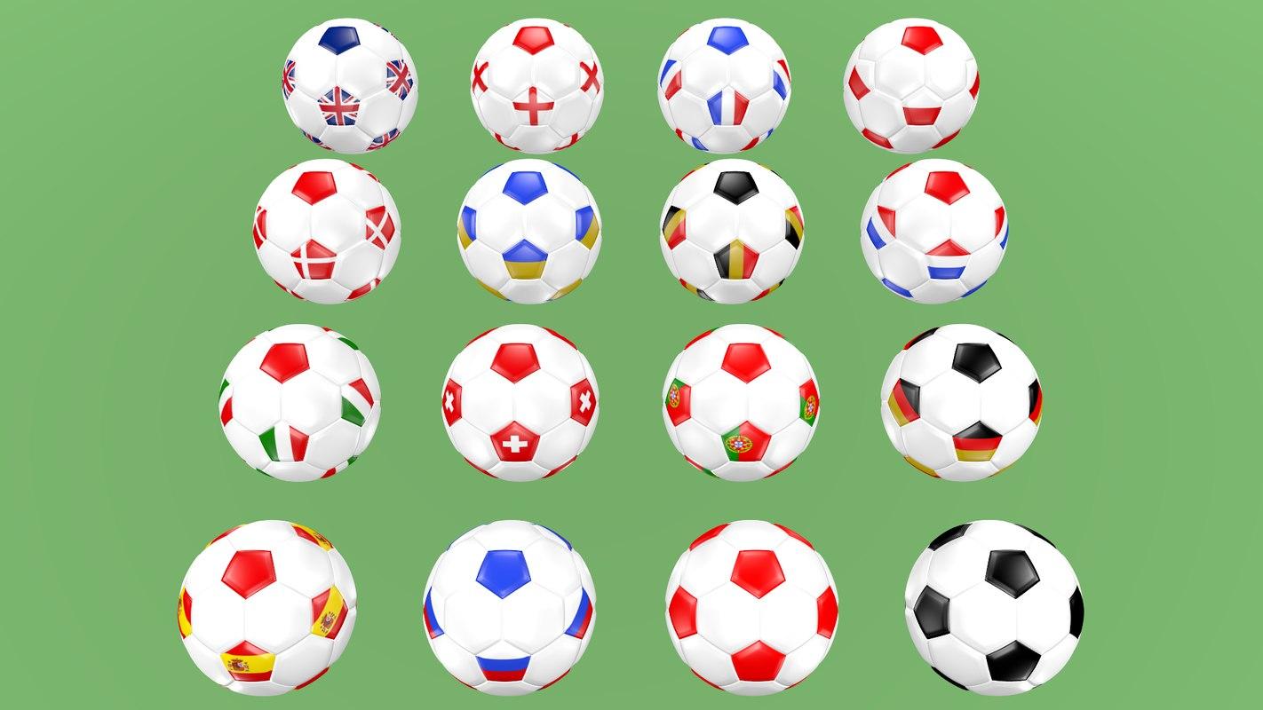 football balls europe 3D model