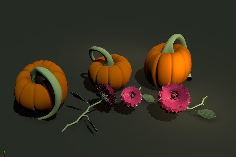 flowers pumpkin 3D model