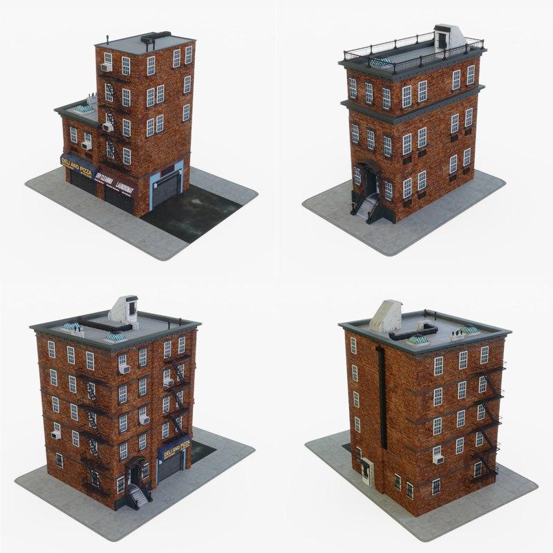 city apartment buildings 3D model
