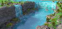 3D niagara falls waterfalls border