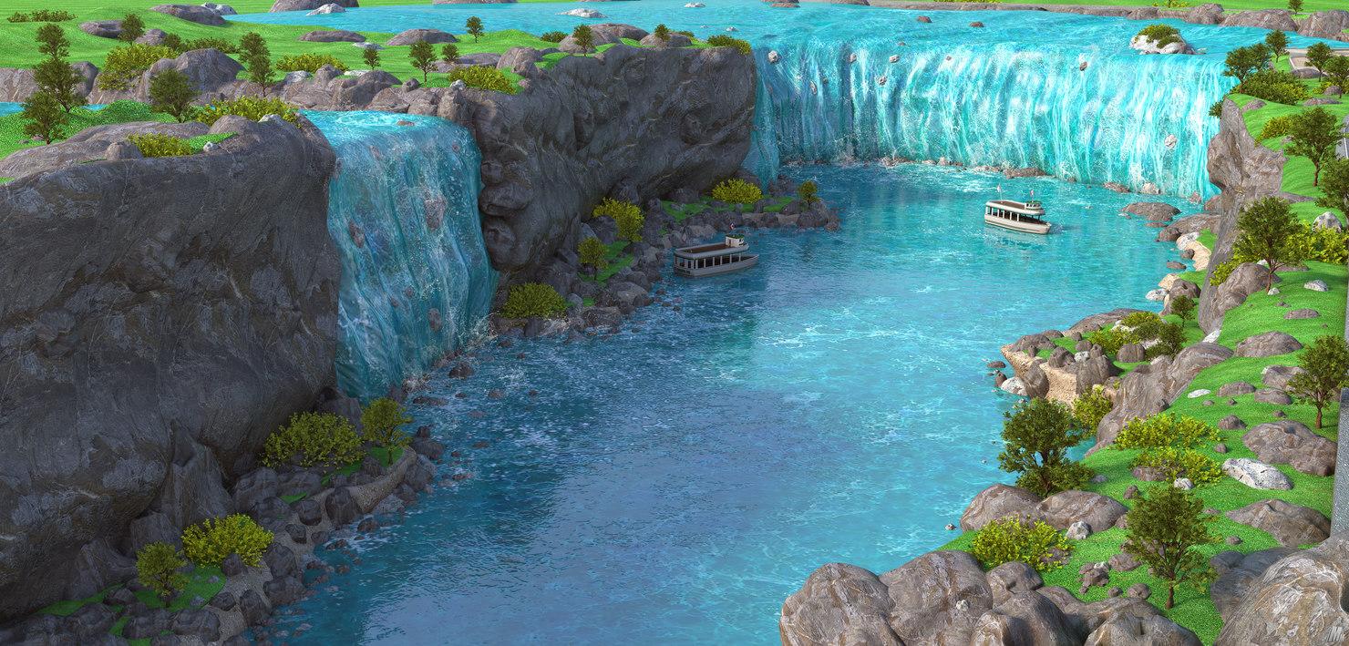 3D niagara falls waterfalls border