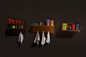 3D model shelf towels jars